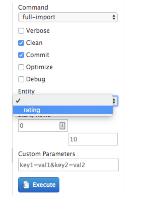 Apache Solr Entity Drop Down Menu