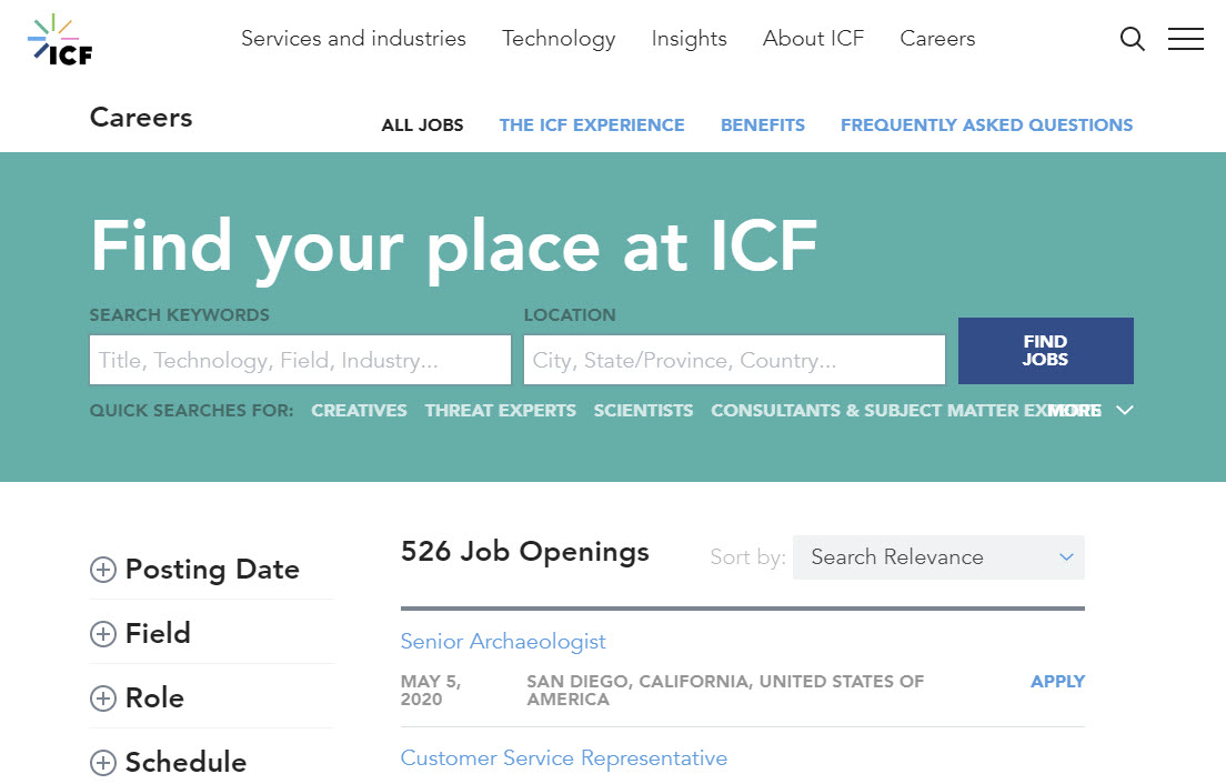 ICF SearchStax Case Study - Careers Page