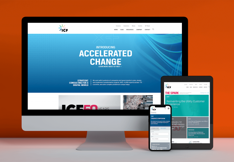 Engagency helped ICF build out a newly branded website with search functionality.