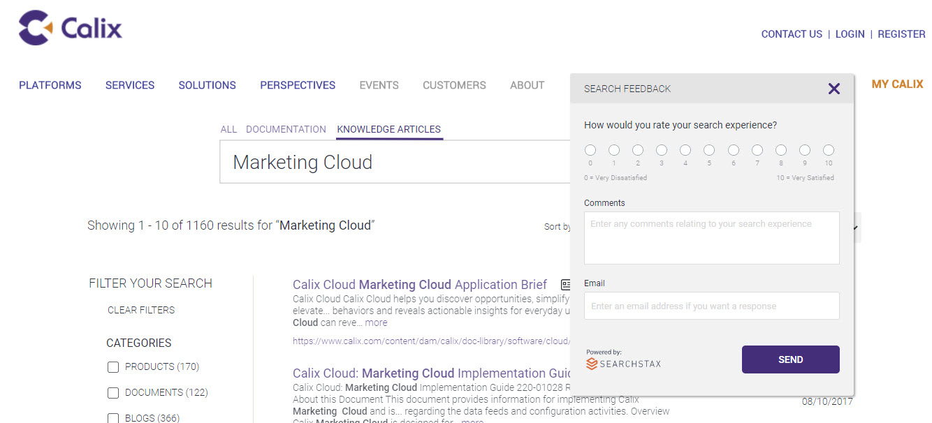 Calix Uses SearchStax with Adobe Experience Manager - Rate Search Experience