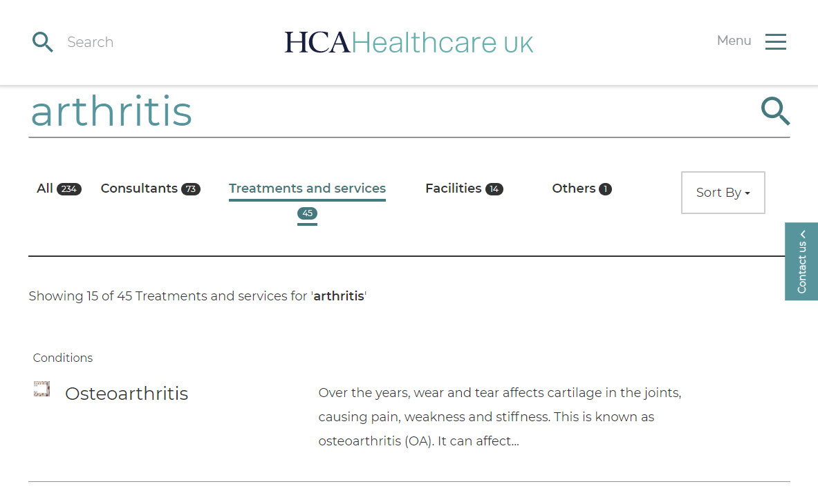 HCA Healthcare UK - Example Search Results