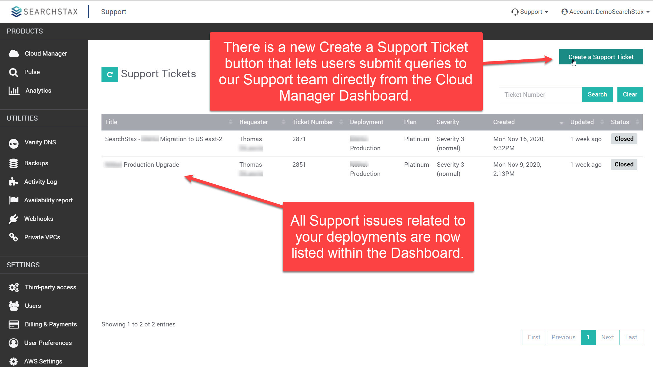 SearchStax Product Updates for Q4 2020 - SearchStax Support Tickets in Dashboard