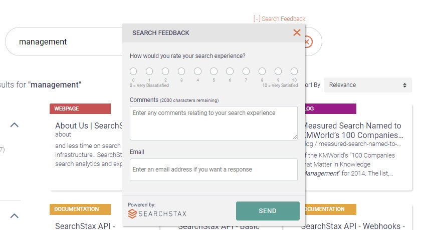SearchStax Site Search Feedback Loop