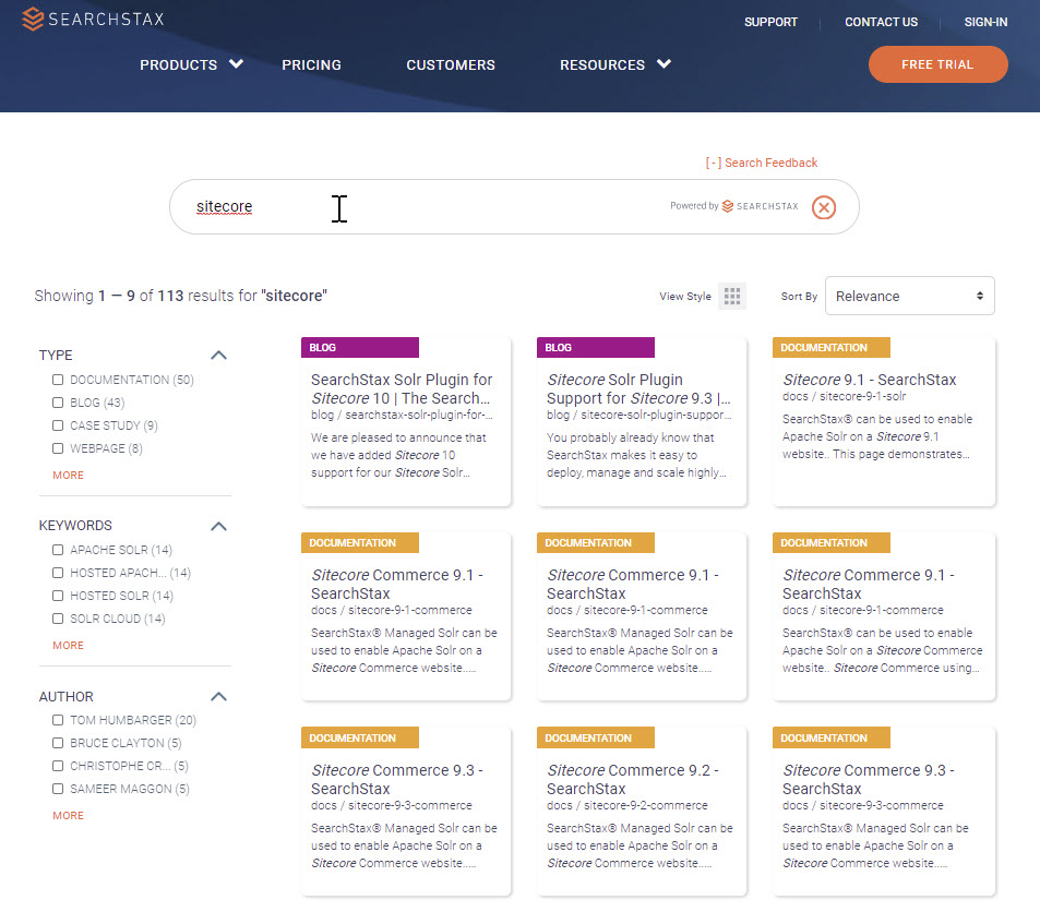 Curate the Site Search Experience - SearchStax Website Before