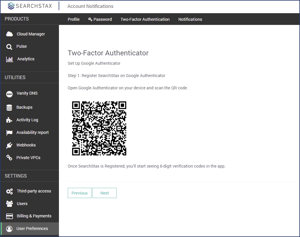 SearchStax Managed Solr - Two-Factor Authentication