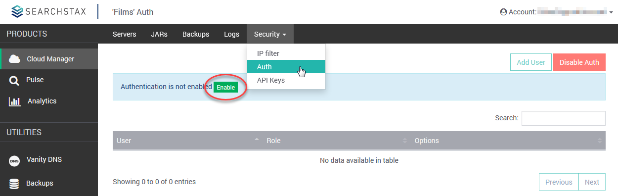 SearchStax Authentication Enable button