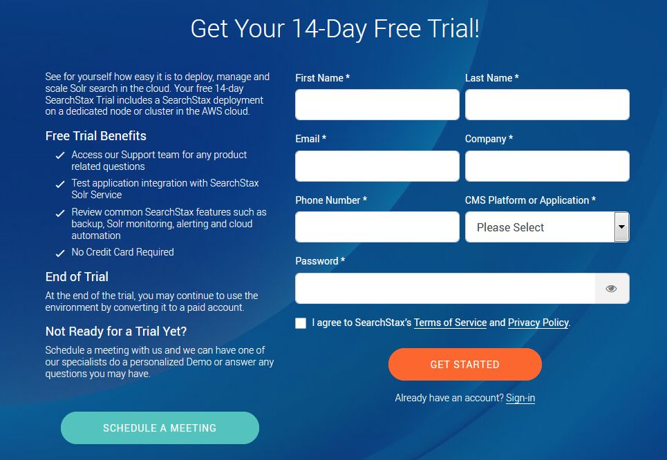 SearchStax Free Trial