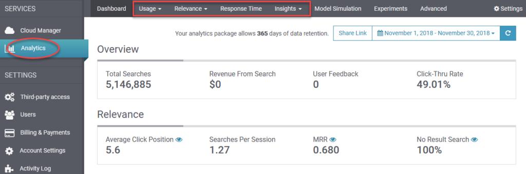 SearchStax Analytics Menu