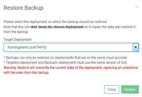 SearchStax Backup Restore