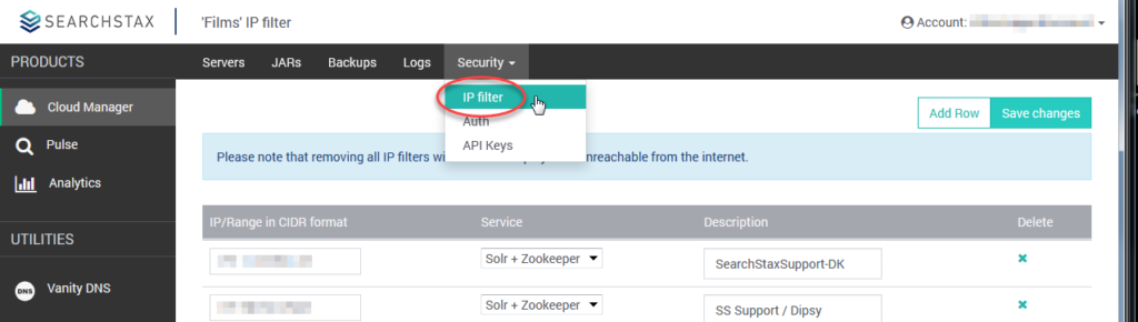 SearchStax Security IP Filtering