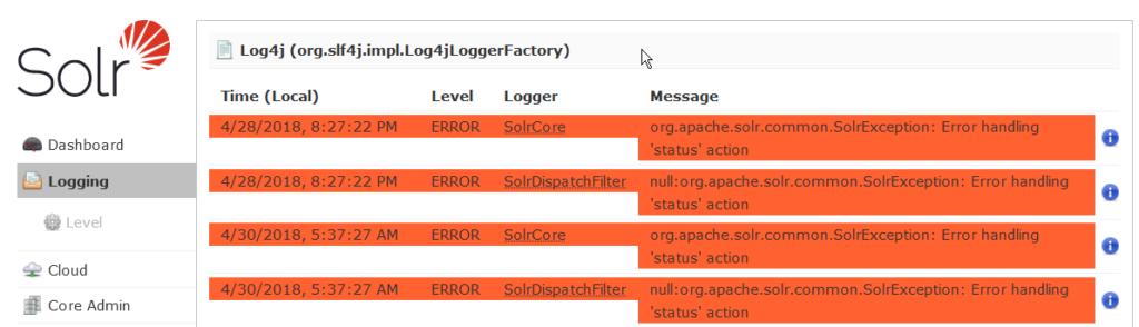 SearchStax Solr Logging