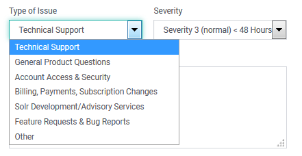 SearchStax Support Form Severity