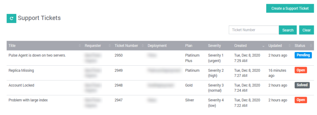 Examine the support ticket history when filing a support request.