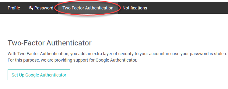 This is the setup screen for Managed Solr Two-Factor Authentication