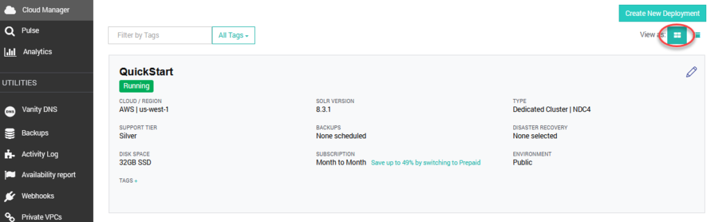 SearchStax Managed Solr Quick Start Card View